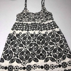 Roxy Sundress Black and White Floral EUC